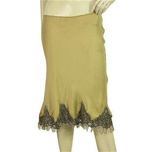 P.A.R.O.S.H. Gold Silk Bias Cut w. Lace & Tulle Midi