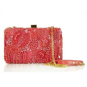 Elie Saab Salmon Color Small Embroidered Clutch Evening