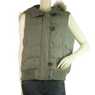 Gray Woolen Zipper Front Sleeveless Vest Jacket with