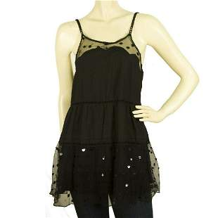 See by Chloe Black Long Cami Top Blouse with Tulle