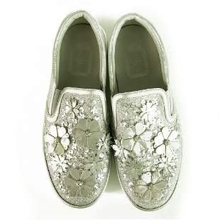 Christian Dior Silver Leather Laser Cut Floral