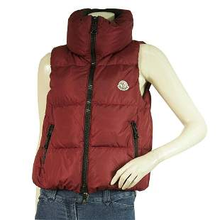 MONCLER dark red PETTY padded gillet vest with zip