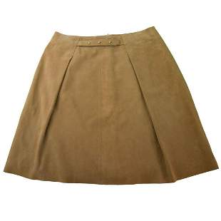 Auth NWT Jo Peters 100% Leather Suede Beige Mini Skirt
