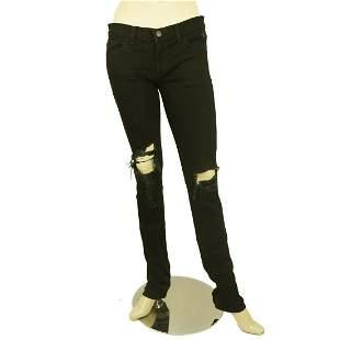 JBrand Woman Torn Trousers in Jett Black Denim Jeans