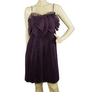 Byblos Purple Silk Fully Pleated Ruffles Spaghetti