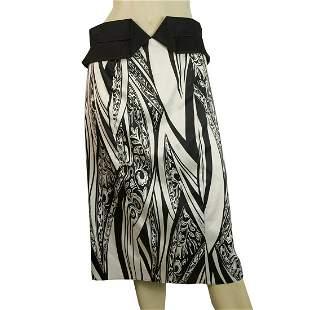 Just Cavalli Black & White Floral Print Below Knee