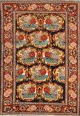 Antique Floral Senneh Persian Area Rug 5x6