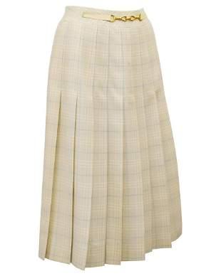 Celine Cream and Blue Tartan Pleated Skirt