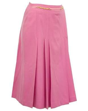 Celine Pink Pleated Wool Skirt