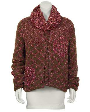 Chanel Brown & Pink Chunky Knit Sweater Set
