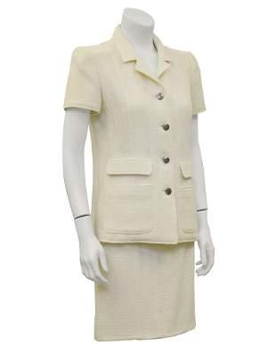Chanel Cream Short Sleeve Suit