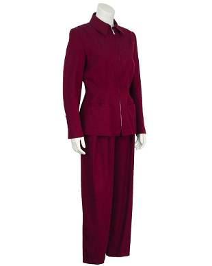 Claude Montana Bordeaux Gabardine Pant Suit