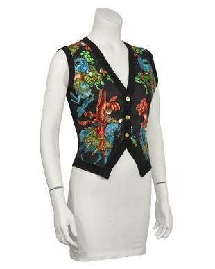 Hermes Black Knit and Silk Vest