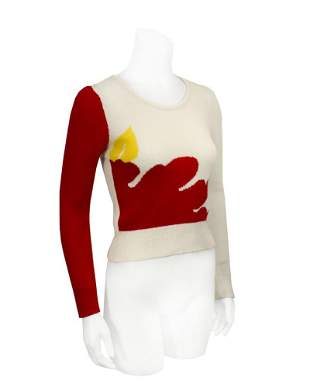 Krizia Red and White Pop-Art Style Sweater