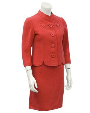 Molyneux Coral Wool Skirt Suit