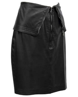 Versace Black Leather Skirt