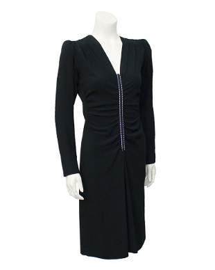 Yves Saint Laurent Black Silk and Rhinestone Dress