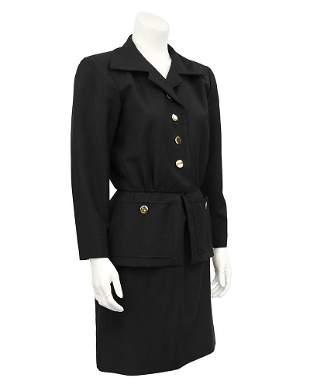 Yves Saint Laurent Black Skirt Suit with Peplum