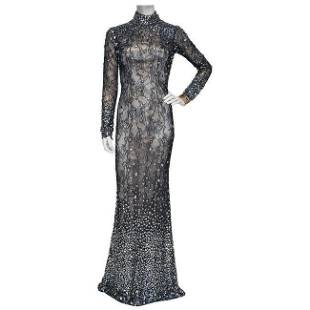 JOVANI Couture Black Sheer Lace Beaded Illusion Gown