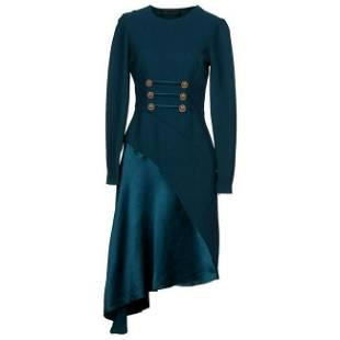 New Versace Petrol Blue Silk Military Inspired Dress