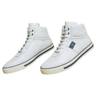 NEW VERSACE WHITE LEATHER HIGH-TOP SNEAKERS with a