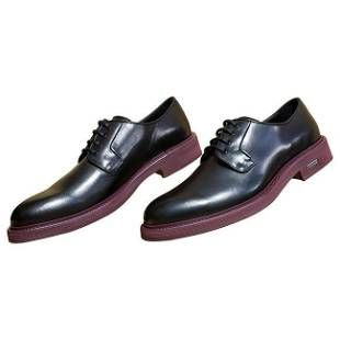 VERSACE BLACK LEATHER LOAFER SHOES with BURGUNDY HEEL