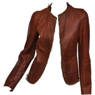 Tom Ford for YSL ring embellished safari cognac leather