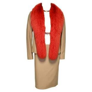 90-S vintage GIANNI VERSACE couture beige skirt suit