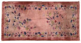 Handmade antique art deco Chinese rug 3' x 6' ( 91cm x