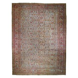 Mansion Size Antique Turkish Knot Oushak All Over