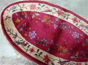 Handmade antique art deco Chinese rug 2.5' x 4.1' (