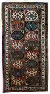 Hand made antique Caucasian Kazak Mohan rug 3.8' x 8.2'