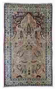 Handmade antique prayer Persian Kerman Lavar rug 2.10'