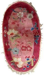Handmade antique Art Deco Chinese rug 2' x 4.1' ( 61cm