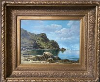 "H. Bridgman, Beach Landscape, Oil, 26"" x 22"""