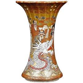 Japanese Meiji Satsuma Beaker Vase with Eight Legions