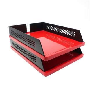 Pair of Red & Black Babele 940 Trays By Barbieri &