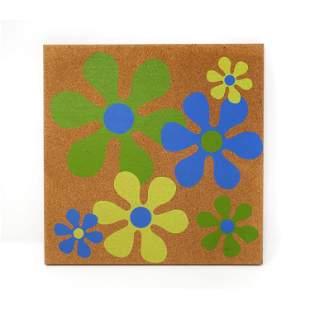 Vintage 1970s Flower Cork Bulletin Board