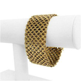 18k Yellow Gold 124g Solid Heavy 31mm Ladies Wide Mesh