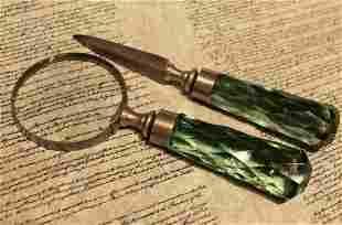 Magnifying Glass Letter Opener Set w Green Glass