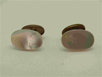 Victorian Mother-of-Pearl Cufflinks, Oval, Gold Filled,