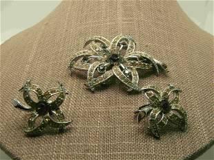 Vintage Sarah Coventry Rhinestone FLoral Earrings &