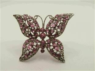 "Vintage Pink Rhinestone Butterfly Brooch, 2.5"""