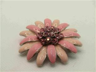 "Vintage Pink Enameled Rhinestone Daisy Brooch, 2"""