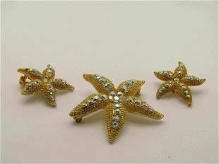 Vintage Aurora Borealis Starfish Brooch & Earrings Set