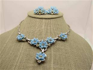 Vintage Blue Forget-Me-Not Rhinestone Necklace &