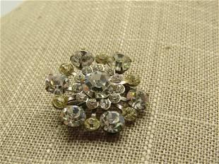"Vintage Clear Rhinestone Blossom Brooch, 1-1/8"", 1940's"