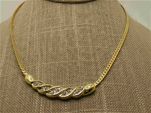 "Vintage Rhinestone Curved Necklace, 18.5"","