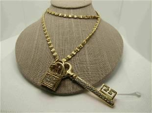 Vintage Rhinestone Lock & Key Necklace, Statement