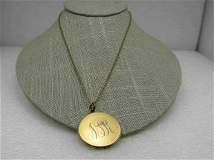 Victorian Rhinestone Locket Necklace, Crescent Moon &